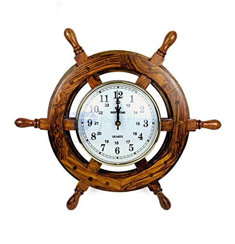 16-Handcrafted-Nautical-Ship-Wheel-With-6-Arabic-Numeral-Dial-Face-Times-Clock-Maritime-Wall-Decor-Clock-Nagina-International