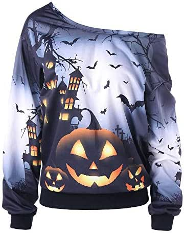 Halloween Shirts for Women Sweatshirt Skew Neck Pumpkin Bat Printed Jumper Pullover Slouchy Tops Outerwear