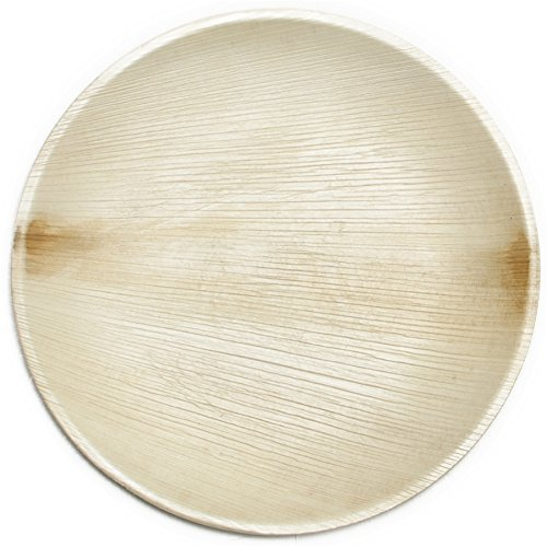 Disposable Plates by PalmPlates - 25 Palm Leaf Plates (9 Inch ROUND) / 100% Natural Eco Friendly Compostable Tableware / CATERING EVENTS - Wedding Buffet BBQ Birthday (Princess Round Serving Plate)