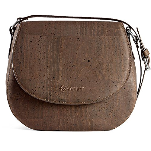 Brown Women Crossbody Corkor Leather Saddle Gift Bag Vegan Cork Sustainable for Purse PHaTgawq