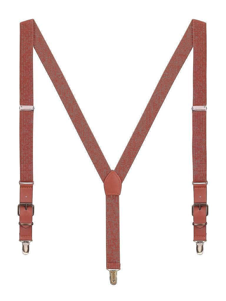 Men Women Braces Classic Retro PU Leather 3 Rustproof Clips Y-Back 2.5cm Suspenders Elastic Fits Height 140-190cm - Black