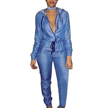 6545666523f Longay Women s Fashion Hoodied Denim Pants Sexy Long Rompers Pants ...