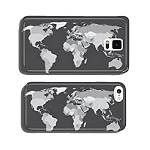 World map countries white outline gray EPS10 vector cell phone cover case iPhone6