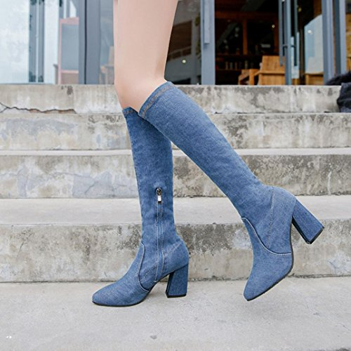 Heels Colorful Pointed Toe TM Boots High Fashion Blue Denim Combat Slim Shoes Boots Women's Fashion H0pHngTr