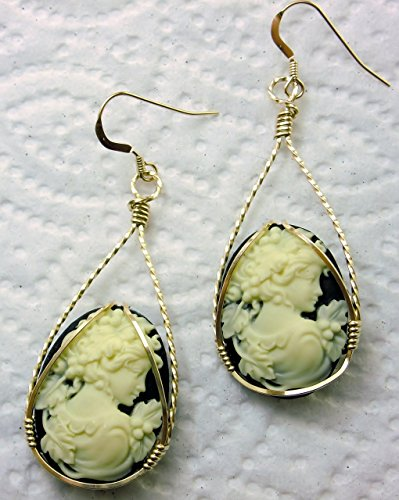 (Grecian Goddess Grapes Cameo Large Drop Earrings 14k Gold Filled Art Jewelry)