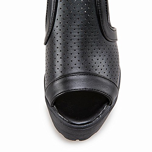 Mee Shoes Damen chunky heels Peep toe Reißverschluss Sandalen Schwarz