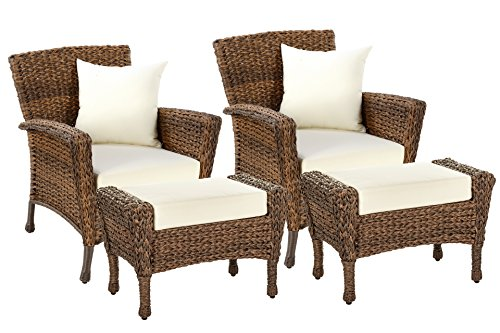 W Unlimited Rustic Collection Outdoor Garden Patio Light Brown Rattan Wicker Furniture Set Deep Seating Aluminum Frames Coffee Table (2 Chairs, 2 Ottoman) (Seating Weather)