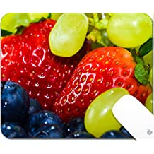 Luxlady Gaming Mousepad 9.25in X 7.25in IMAGE: 27514210 strawberry grape and bilberries on white background
