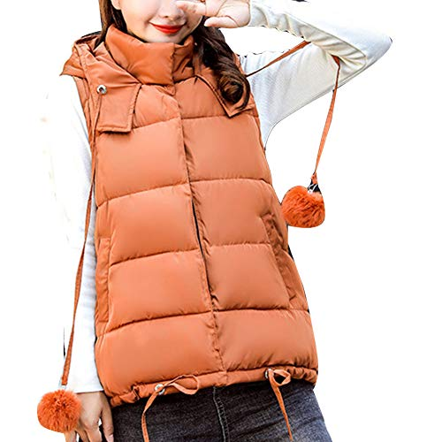 Women Padded Coat Puffer Jackets Quilted Lightweight Vest Jacket GladiolusA Brown Hooded Sleeveless Down fOdzzxqw