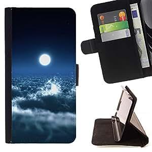 Momo Phone Case / Flip Funda de Cuero Case Cover - Brillante Nubes Luna Cielo Azul Cielo Espacio de Arte - HTC Desire 820
