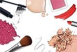 AOFOTO 7x5ft Fashion Makeup Set Backdrop Trendy Girl Beauty Photography Background Cosmetics Blogger Live Video Banner Powder Brush Lipstick Eyeshadow Skincare Tools Photo Studio Props Vinyl Wallpaper