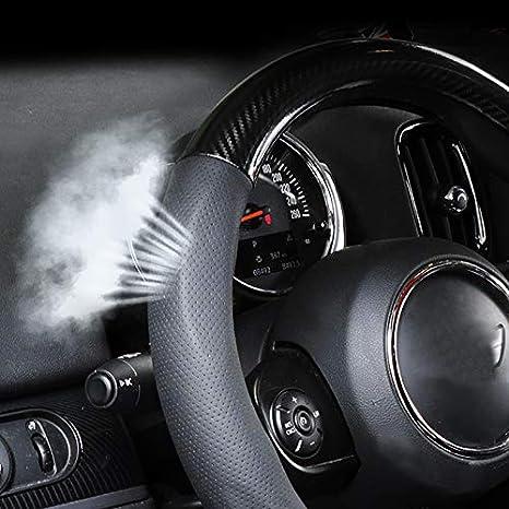 BJJS Housse de volant de voiture en silicone et fibre de carbone pour toutes les Mini Cooper F//R Series Clubman Hardtop Hatchback Covertible Countryman 380 mm