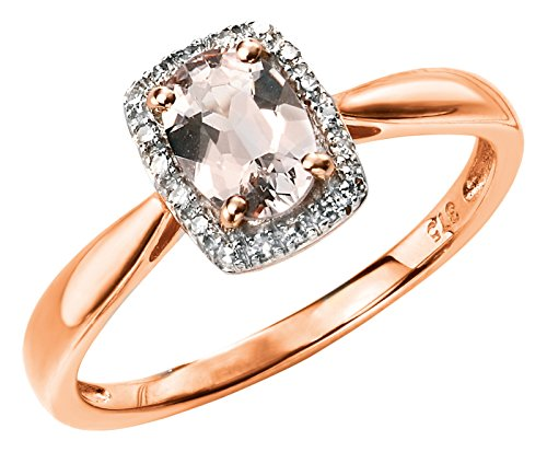 Elements Gold 9ct Rose Gold Diamond and Morganite Ring Size - L