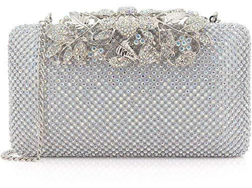 Dexmay Womens Evening Bag with Flower clasp Wedding Handbag Rhinestone Crystal Clutch Purse AB ()