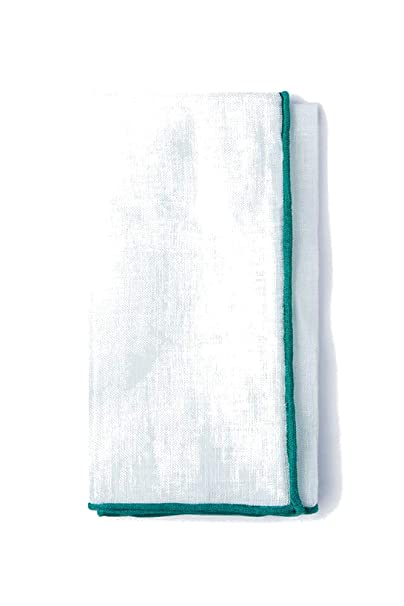 c8a3db25f78df 100% Linen White with Teal Embroidered Edged Trim Pocket Square at ...