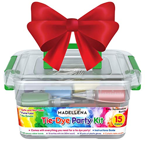 Christmas Gift for Kids 2019: Large All Inclusive Tie Dye Kit, 15-Color Party Kit, One Step Tie Dye Party Kit, Craft Kits, includes Rubber Bands, Gloves, Plastic Film and Table Covers and Instructions