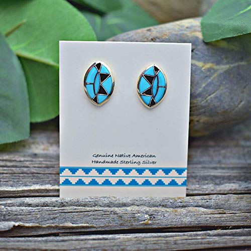 Genuine Sleeping Beauty Turquoise and Onyx Inlay Earrings in 925 Sterling Silver, Authentic Zuni Native American Handmade in the USA, Natural Stone, Light Blue, Southwest
