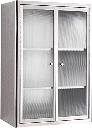 Wall Cabinets Bathroom Side Cabinet Stainless Steel Kitchen Wall Hanging Locker Balcony Storage Medicine Cabinet Color Silver Size 50 70 30cm Amazon Co Uk Kitchen Home