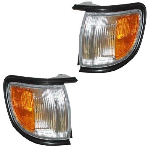 (1996-1999 Nissan Pathfinder (Built Before 11/98 Production Date) Corner Park Light Turn Signal Marker with BLACK Trim Pair Set Right Passenger AND Left Driver Side (1996 96 1997 97 1998 98 1999 99))