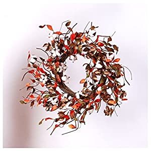 """FavorU 20"""" Real Cotton Flowers Bolls Wreath Welcome Home Decor for Front Door Festival Hanging Decorations 29"""