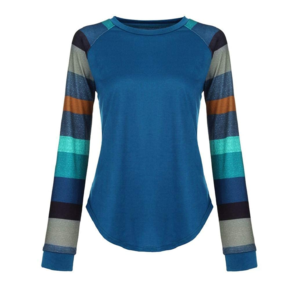 Mujeres Suelto Jersey Suéter Pullover Cárdigan Striped Camiseta Cuello Redondo con Manga Larga Sudadera Cardigan Casual Loose Oversize Jerséis T-Shirt tee ...