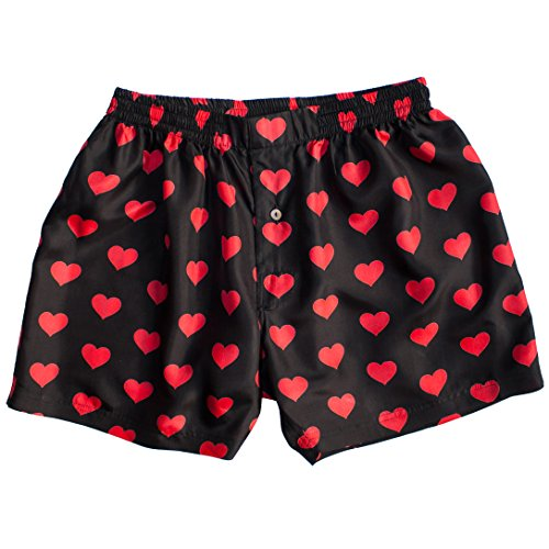 Black Silk Heart Boxers 2.0 by Royal Silk - Love You Valentine Special - Men's S (30-32