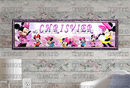 Customized Name Painting Minnie Mouse #2 Poster With Your Name On It Personalized Banner With Hard Frame ()