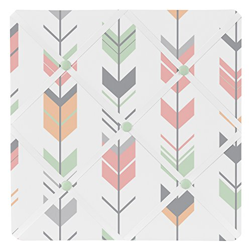 Sweet Jojo Designs Grey, Coral and Mint Woodland Arrow Fabric Memory/Memo Photo Bulletin Board by Sweet Jojo Designs