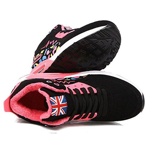 Hishoes Zapatillas Botas de Montaña Mujer Otoño Invierno Mantener Caliente Aire Libre Deportes Zapatilla Alta Botines Rosa