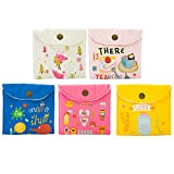 Ozzptuu 5PCS Cloth Sanitary Napkins Bags Case Pouch Cute Cartoon Nursing Pad Holder for Women and Girls Random Pattern