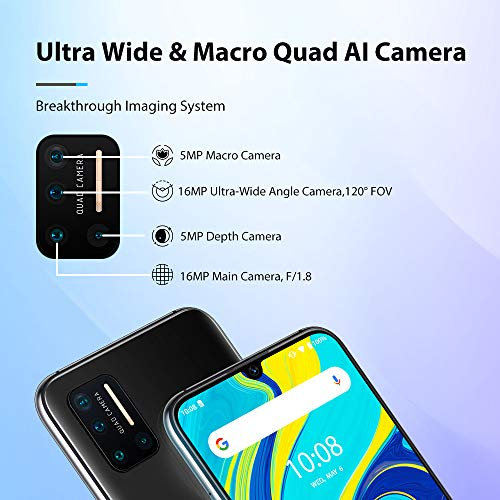 """UMIDIGI A7 Pro Unlocked Cell Phones(4GB+64GB) 6.3"""" FHD+ Full Screen, 4150mAh High Capacity Battery Smartphone with 16MP AI Quad Camera, Android 10 and Dual 4G Volte(Cosmic Black)."""