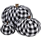 Package of 3 Assorted Burlap Pumpkins Fabric Pumpkins Buffalo Plaid Pumpkins Gingham Fabric Pumpkins Fall Thanksgiving Halloween Seasonal Holiday Farmhouse Tabletop Decoration