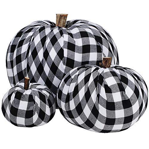 Package of 3 Assorted Burlap Pumpkins Fabric Pumpkins Buffalo Plaid Pumpkins Gingham Fabric Pumpkins Fall Thanksgiving Halloween Seasonal Holiday Farmhouse Tabletop Decoration from Winlyn