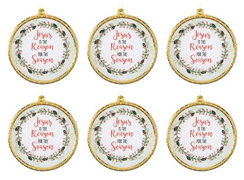 Christmas Begins with Christ Collection Jesus is The Reason Round Glass Ornament, 2 3/4 Inches, Pack of 6