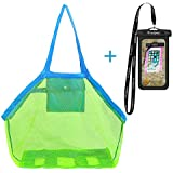 Windpnn Portable Large Mesh Tote Bag w Waterproof Cellphone Beach Pouch for Holding Childrens' Toys Sand Free Toys Bag