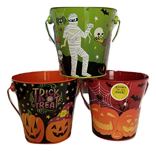 Decorative Halloween Mini Tin Pails - Treat Bucket - Party Favors -Set of -