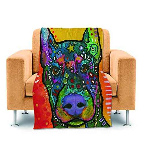 Personalized Cotton Tapestry Throw (CafeTime Unique Design Cute Pet Dog Doberman Home Throw Blanket Personalized Bed Sofa Couch Blanket Fleece Soft Warm Kid Baby Blanket Indoor Outdoor Blankets For Air Conditioning 60