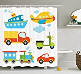 Ambesonne Boy's Shower Curtain, Abstract Transportation Types for Toddlers Car Ship Truck Scooter Train Aeroplane, Cloth Fabric Bathroom Decor Set with Hooks, 70 Inches, Multicolor