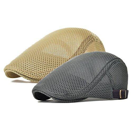 (Men's Mesh Flat Cap Duckbill Beret Ivy Gatsby Newsboy Driving Cabbie Caps Hunting Hat (2 Pack-b))