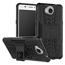 Huawei Y6 2017 Case, B1ST Huawei Y5 2017 Case,Impact Anti-fall,Scratch Resistant, Resistant Shockproof TPU Soft Cover Dual Layer Rugged Heavy Duty Corner Protection Cover Military Tires Leather with Kickstand for Huawei Y6 2017/ Y5 2017 (Black)