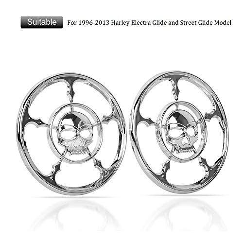 (FATExpress 2 x Chrome Skull Speaker Cover Horn Grill Trim Round Caps For 1996-2013 96-13 Harley Touring Electra Street Glide Trikes Ultra ClassicFLHTCU PoliceFLHTCI FLHT 2000 2001 02 04 06 2008 2012)