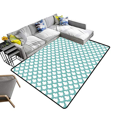 - alsohome Silky Smooth Bedroom Mats Moroccan Mosaic Tile Arabesque Pattern Abstract Middle Eastern Turquoise Waterproof and Easy Clean 2' X 4'