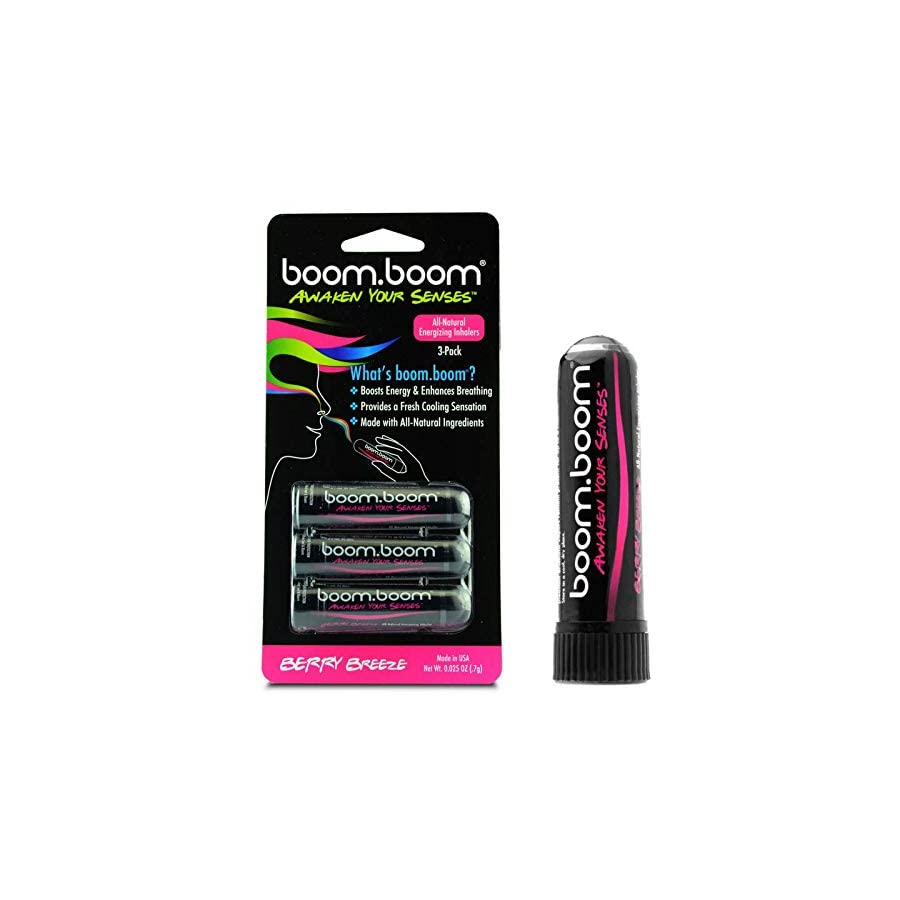 Aromatherapy Nasal Inhaler (3 Pack) by BoomBoom | Boosts Focus + Enhances Breathing | Provides Fresh Cooling Sensation | Made with Essential Oils + Menthol