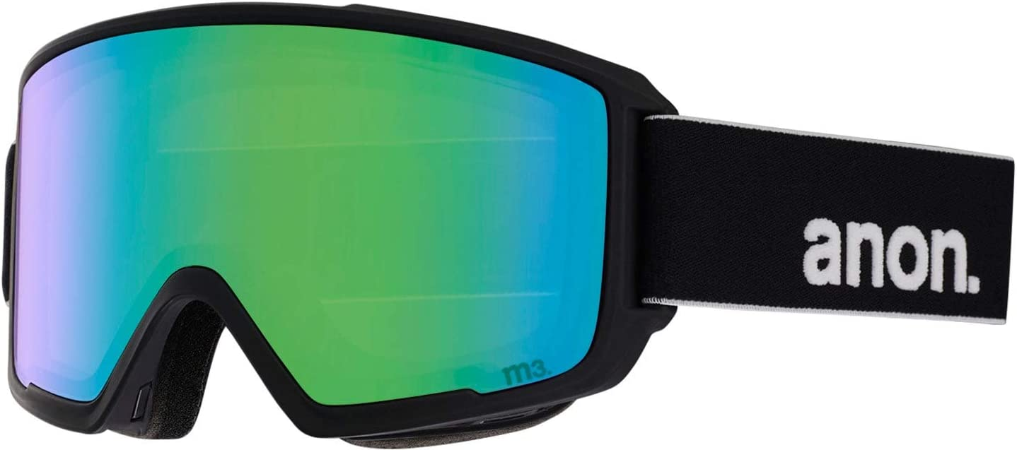 Anon Mens M3 Goggle with MFI Mask and Spare Lens Green Frame Sonar Smoke Lens; Spare Lens Sonar Green