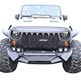 Safaripal Jeep Wrangler Front Grille Grill for Jeep Wrangler Rubicon Sahara Sport Jk 2007-2017 Matte Black (Big Eyes Grille)