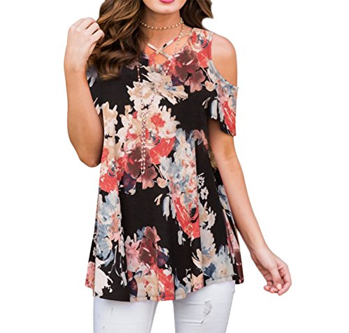 ZRMY Women's Cold Shoulder Floral Print Short Sleeve T-Shirts Casual Criss Cross Tunic Tops(Black_Red,XXL)