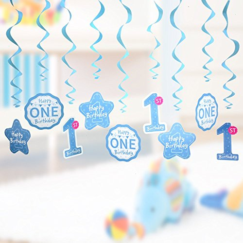 1st Birthday Party Swirl Hanging Decorations kit,Colorful Foil Ceiling Decor Pack for Baby Celerbration (Baby Blue)