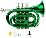 Merano B Flat Green Pocket Trumpet with Case+Mouth Piece;Valve oil;A Pair Of Gloves;Soft Cleaning Cloth+Stand