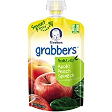 Gerber Graduates Grabbers, Apple, Peach and Spinach, 4.23 Ounce (Pack of 12)