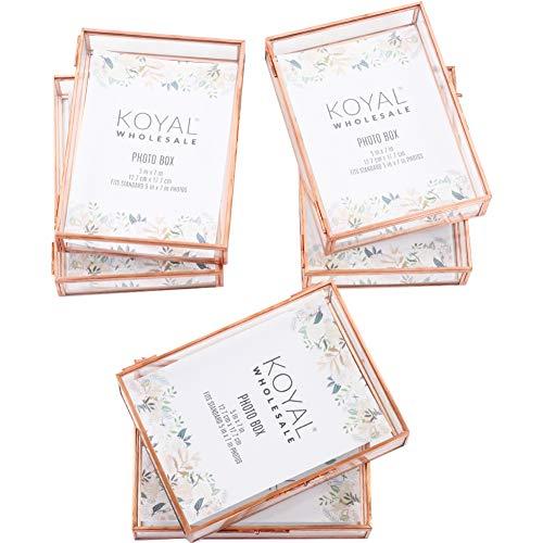 Koyal Wholesale Glass Photo Box for Photos, 5 x 7-Inch Keepsake Photo Memories Storage Case, Rose Gold Decorative Heirloom Glass Jewelry Box with Locking Lid, In Bulk 6-Pack Wedding Photographer Proof